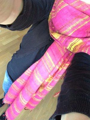 Rosarot und gelber Schal aus Kaschmirwolle