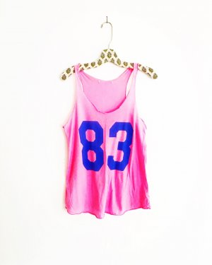 rosarotes tank top / number shirt / vintage / pink / neon / oversized / 90s