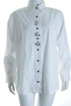 Rose-Blusen Blouse bavaroise blanc motif de fleur Boutons extravagants