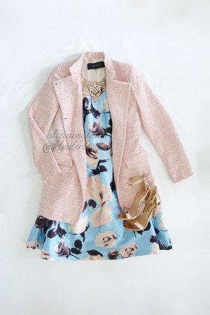 Rosé cremefarbener melierter Mantel von Zara