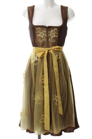 Rose Dirndl Dirndl bronze-jaune primevère motif de fleur style extravagant