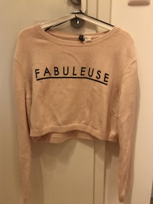 Rose farbener Cropped Pullover