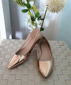 rosé-goldene, spitze Ballerinas  von asos