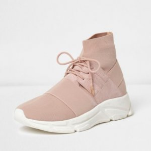 ROSÉ KNIT SOCKLACE UP RUNNER / TRAINERS