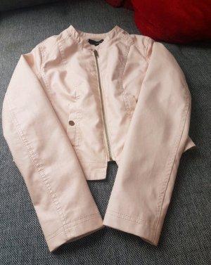 rose Lederjacke Reißverschluss