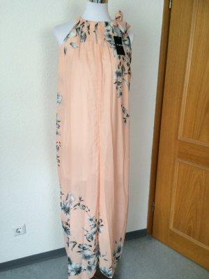 rosé /nude farbenes langes fallendes Kleid mit Blumen / Maxikleid- Gr. S