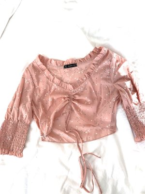 SheIn Blusa tipo Carmen color rosa dorado-rosa claro