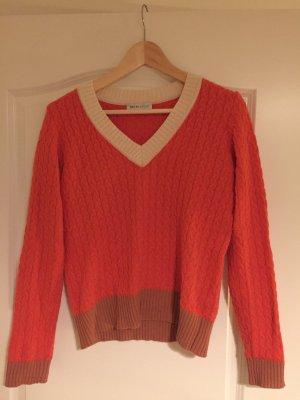 Rosé/orangener Zopfmuster Pullover mit V-Ausschnitt