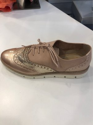 Marco Tozzi Wingtip Shoes rose-gold-coloured-dusky pink leather