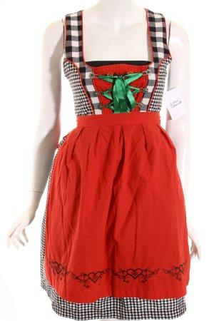 rose trachten Dirndl noir-rouge motif Vichy style campagnard