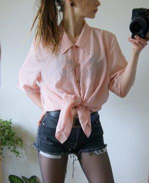 Roséfarbene vintage Bluse, oversized Bluse Rosa Stickerei, preppy blogger