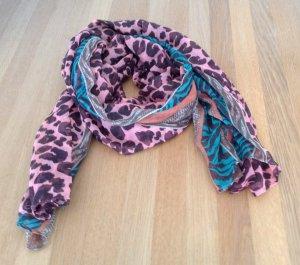 Rosefarbener Schal mit Animalprint