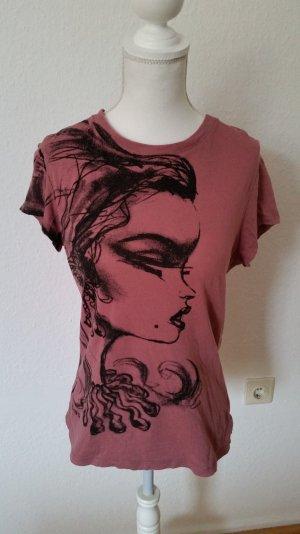 Roséfarbenes Fornarina T-shirt mit durchgehender Knopfleiste hinten