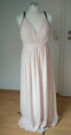 Rosefarbenes langes Ballkleid, Brautjungfernkleid, festliches Kleid Gr. 42, Chiffon