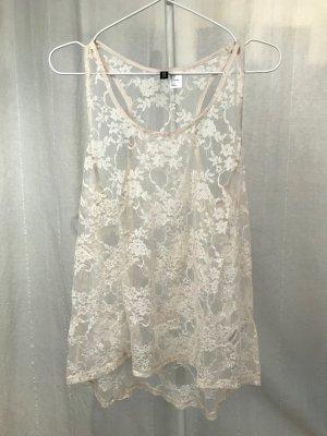 Roséfarbenes Spitzentop von H&M