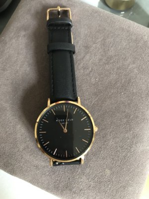ROSEFIELD Watch With Leather Strap black-gold-colored leather