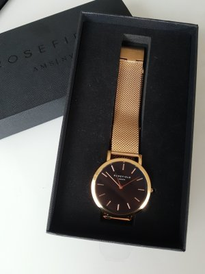 """ROSEFIELD """"The Mercer"""" Uhr, rosegold/schwarz, Edelstahl, Mesh-Armband"""