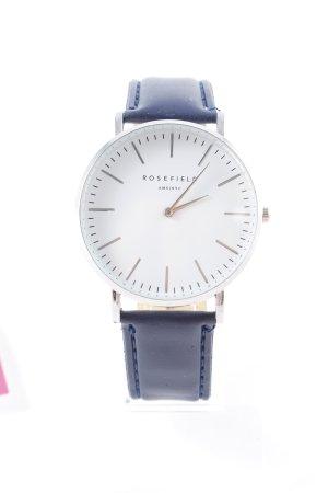 ROSEFIELD Horloge met lederen riempje donkerblauw simpele stijl