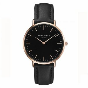 ROSEFIELD Watch With Leather Strap black leather