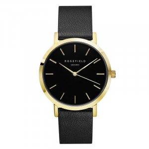 ROSEFIELD Watch With Leather Strap black-light brown leather