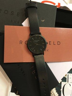 Rosefileld Black Leder neu mit Etikett Uhr