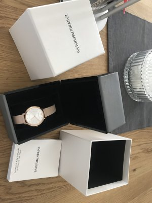 Armani Watch With Leather Strap rose-gold-coloured