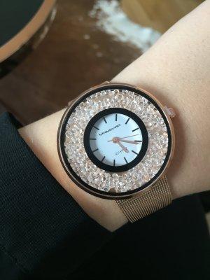 Roségold Uhr neu Metall Strass