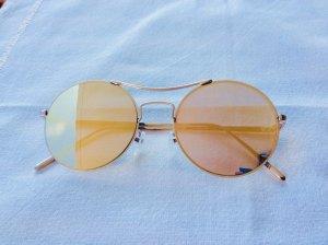 Roségold verspiegelte, runde Flat Lens Sonnenbrille von Pieces