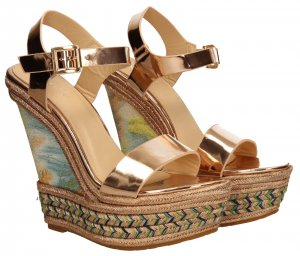 Wedge Sandals pink-gold-colored synthetic material