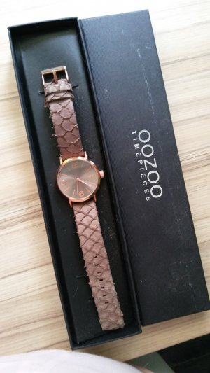 Oozoo Watch With Leather Strap brown-rose-gold-coloured leather