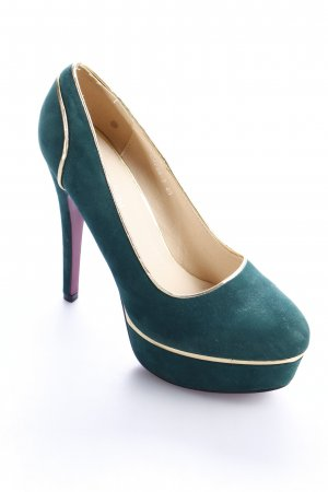 Roselight High Heels forest green-gold-colored party style
