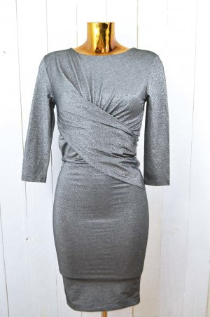ROSEMUNDE Damen Kleid Stretchkleid Glitzer Schwarz Silber Gerafft Stretch Gr.M