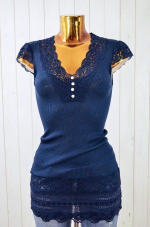 ROSEMUNDE Damen T-Shirt Longshirt Seide Baumwolle Rippe Spitze Blau Gr. M Neu!