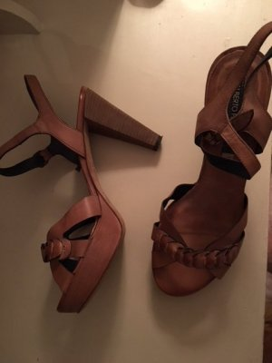 Alberto Fermani Platform High-Heeled Sandal light brown leather
