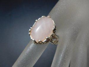 Rosenquarz Cabochon 925 Sterling Silber Designer Edelstein Ring rose rosa Vintage Silberring