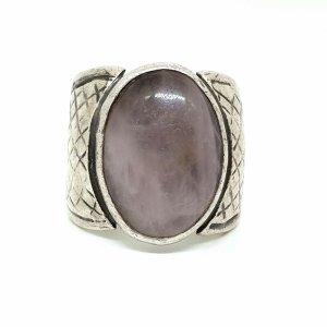 Rosenquarz Edelstein Cabochon Art Deco Ring 925 Silber Sterling Silberring handgefertigtes Juwelierstück