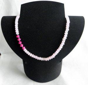 Rosenquarz-Halskette mit Pink-Rubinen   wunderschön & neu !!!!
