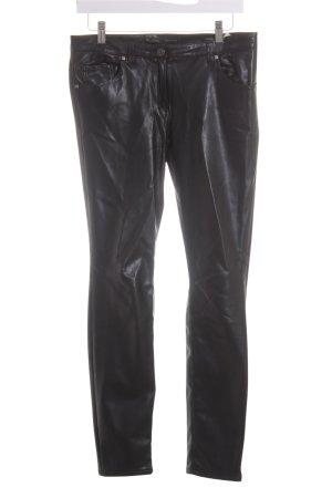 Rosner Pantalone in pelle nero-argento ornamenti di strass