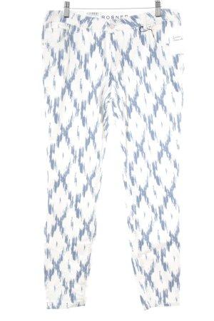 Rosner Skinny Jeans wollweiß-blau abstraktes Muster Casual-Look