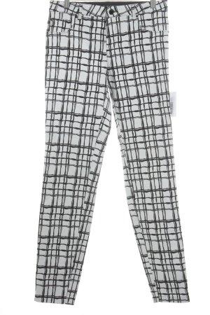Rosner Stoffhose schwarz-weiß abstraktes Muster Casual-Look