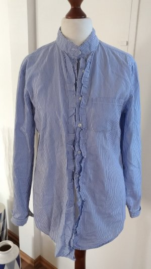 rossana diva Ruffled Blouse steel blue-white cotton