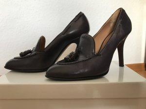 Rossetti Fratelli Pumps High Heels Loafer Gr. 40 Leder Aubergine