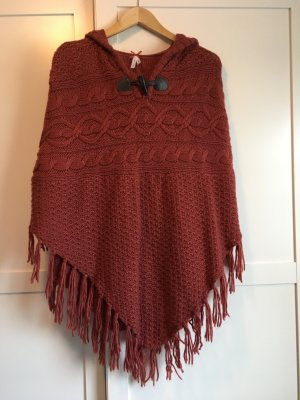 Atmosphere Poncho en tricot rouille