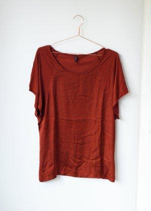 Rostfarbenes Satin Shirt Tshirt Basic S Amisu Rost oversized