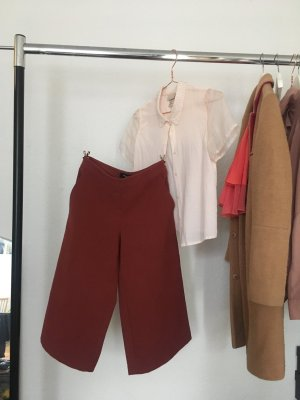 Rostrote Woll Culottes 3/4 Lang