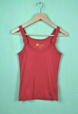 Rostrotes Shirt / Top / Tanktop mit Schleife / Knoten