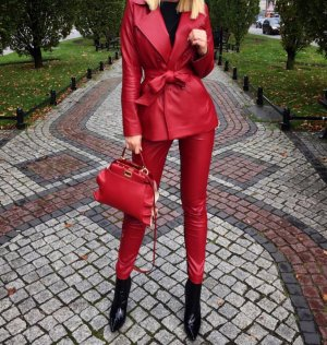 Rot Anzug Kunstleder Blazer jacket jacke