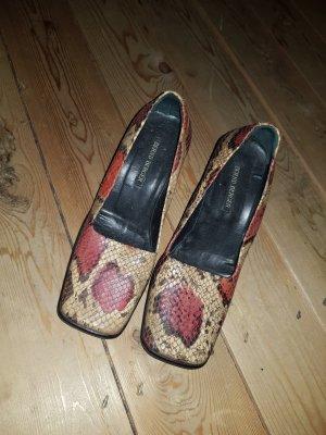 Bernd Berger Zapatos de tacón con barra en T beige-rojo oscuro