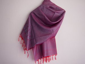 Fringed Scarf red-cornflower blue