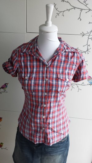 H&M Blouse à carreaux rouge-bleu coton